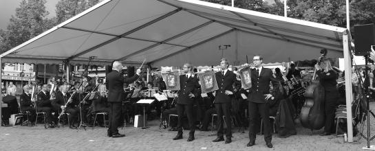 Foto der Marschrevue aus dem Jahr 2015. Mit 3 Fanfaren vor dem Orchester.